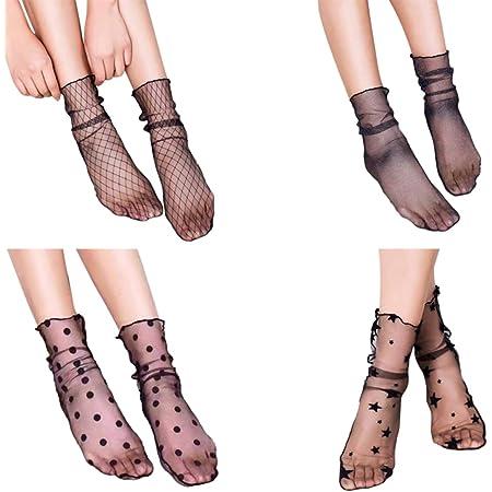 TinkSky Donne puro Slouch calze Sexy calze a rete maglia calzini Slouch per medicazione 4 paia, Nizza calze per le donne