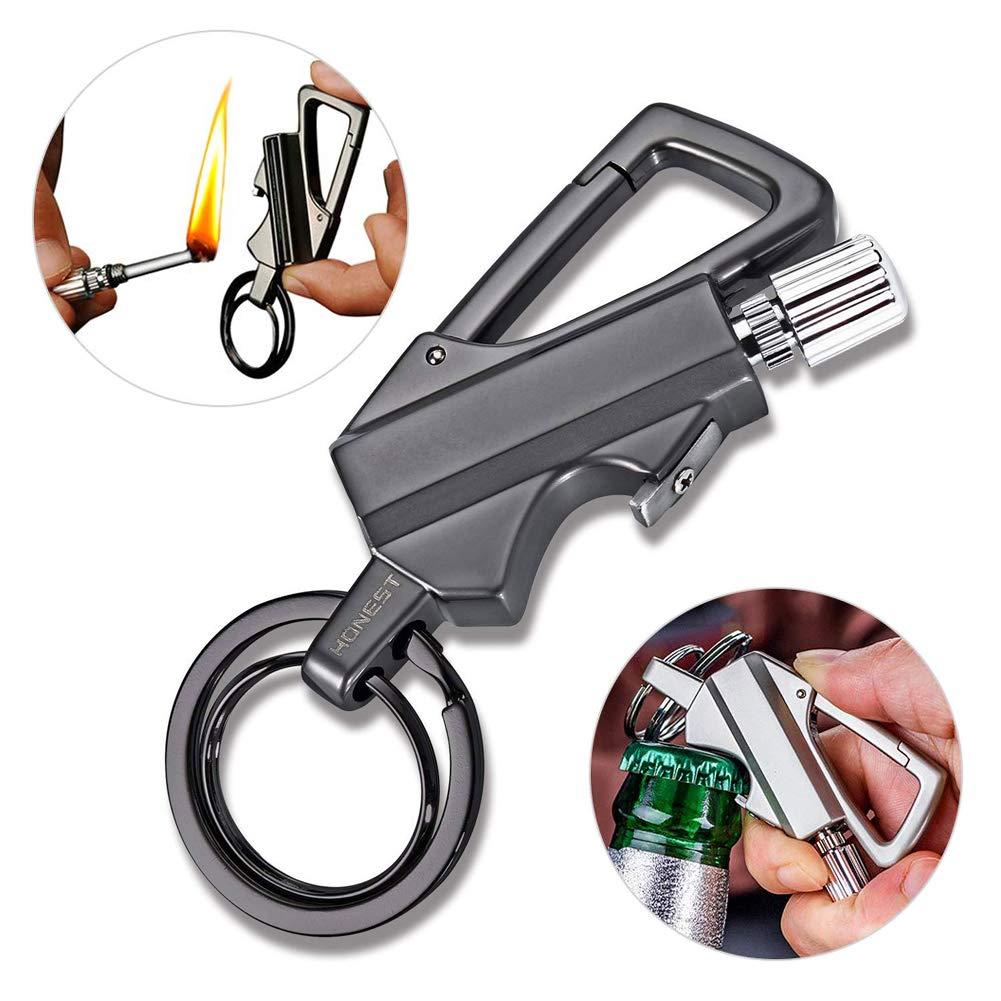 Multitool Keychain with Flint Metal Matchstick Fire Starter Bottle Opener Mountaineering Buckle Kerosene Refillable Lighter Emergency Survival Gear