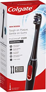 Colgate ProClinical 250R Charcoal Black Sonic Electric Power Toothbrush with 2 Brush Head Refills and 2 Minute Timer