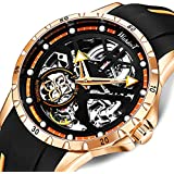 Mens Watch Automatic Mechanical Skeleton Movment Black Large Round Dail Stainless Steel Wristswatch Rubber Strap Military SelfWinding Sports Casual Waterproof Fashiong Punk Classic Luxury Gifts