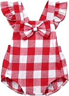 Howely Kids Girls Bow Fine Cotton One-Piece Overalls Rompers Bodysuit