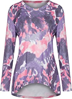 Xia/&Han Women V-Neck Cat Print Blouse Long Sleeves Shirt Botton Tops Dip Hem Tee Loose Tunic