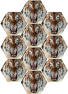 MOOCOM Safari Decor Durable Hexagon Ceramic Tile Stickers,The Siberian Tiger Roar Teeth Golden Eyes Stripes Whiskers Attack Predator White Background,for Living Room,9 x 7.8 inch (10PCS/Set)