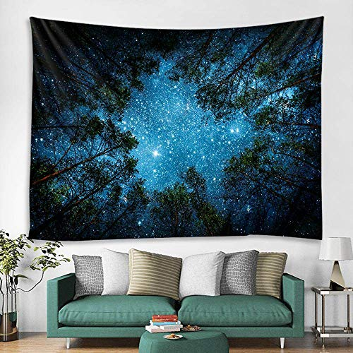 XIAOG Tapestry Wall Hanging,Psychedelic Bright Galaxy Star Tapestry Forest Ninght Rectangle Art Tapestry Throw Bedspread For Teen Bedroom Living Room Decor,75X90Cm(29.5X35.5In)