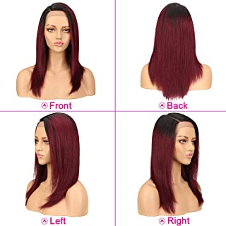 red lace front wig human hair