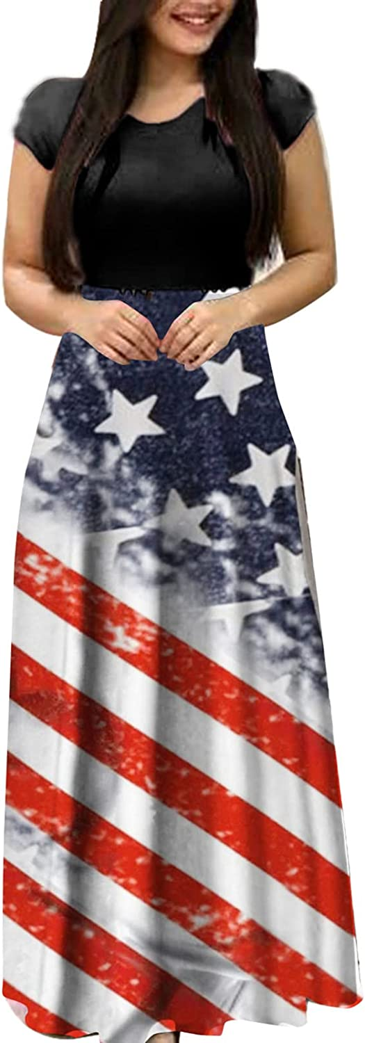 Aniwood Summer Dresses for Women Casual , Women's Short Sleeve Star- striped Patchwork Maxi Dresses Casual Long Dresses