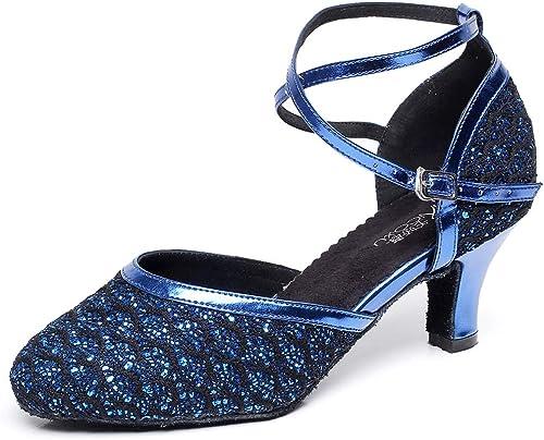 Chaussures de danse latine pour femmes Talon de chaton Lacets à paillettes Croix à bout pointu Salle de bal Salsa Soirée Tango