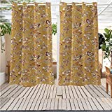DONEECKL Ocean Outdoor Sky Pattern of Fish Shells Starfish Sea-Horse Water Creatures Sea Life Illustration Insulated with Grommet Curtains for Bedroom W55 x L72 inch Mustard Brown