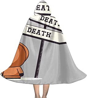 Death Signpost Kenny South Park Unisex Kids Hooded Cloak Cape Halloween Party Decoration Role Cosplay Costumes Outwear Black