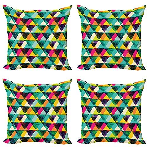 Indie - Funda de cojín (4 unidades, 45 x 45 cm), diseño de triángulos vibrantes, multicolor