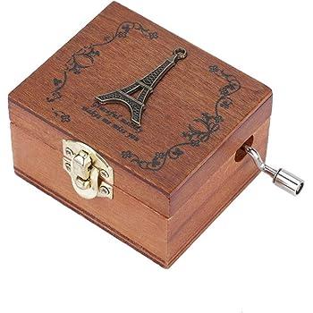 Hztyyier Caja de música de Madera, Cajas Musicales de manivela talladas Vintage Regalo de cumpleaños de San Valentín para niños, niños, niñas, Amigos(Torre)