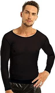Men's Mesh Sheer T-Shirt Top Transparent Long Sleeve Slim Fit Undershirt