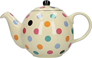 London Pottery Globe Polka Dot Teapot with Strainer, Ceramic, Ivory/Multi Spot, 6 Cup (1.2 Litre)