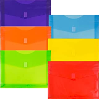 JAM PAPER Plastic Expansion Envelopes with Hook & Loop Closure - Letter Booklet - 9 3/4 x 13 with 2 Inch Expansion - Assorted Colors - 6/Pack