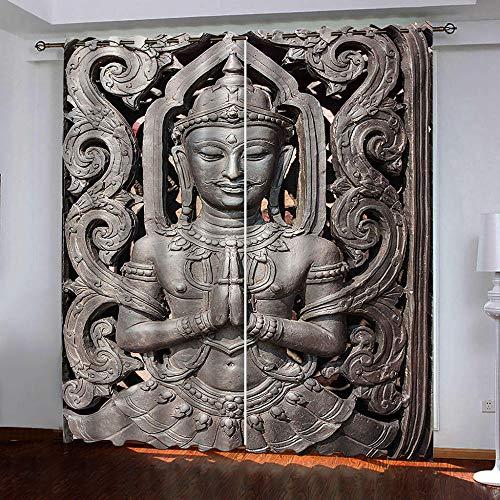 QLCUY Cortinas Opacas 3D Estatua De Buda W220×H215Cm Cortina con Ojales Arandelas Tratamientos Paneles Privacidad para Ventanas Habitacion Moderna Salón.