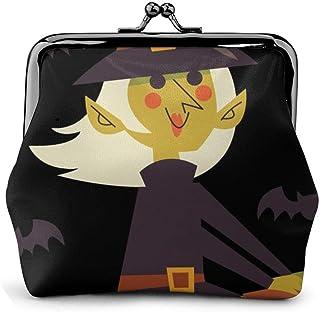 Cute Cartoon Halloween Witches Ride Broomsticks Vintage Pouch Girl Kiss-Lock Cambiar Monedero Carteras Hebilla Monederos de Cuero Llave