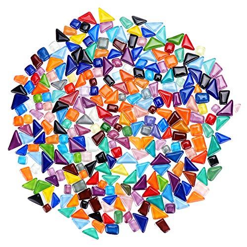Coolty Glas Mosaiksteine Bunt, Mischformen Glasstücke für Heimwerker, Teller, Bilderrahmen, Blumentöpfe, handgefertigten Schmuck und mehr, 500g