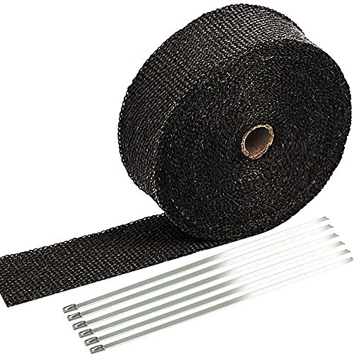 SunplusTrade 2' x 50' Black Exhaust Heat Wrap Roll for Motorcycle Fiberglass Heat Shield Tape with Stainless Ties
