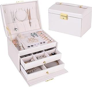 صندوق مجوهرات من الجلد مع مقبض، 3 طبقات مع درج درج، منظم سطح المكتب للأقراط والساعات والإكسسوارات، هدية كلاسيكية للنساء ال...