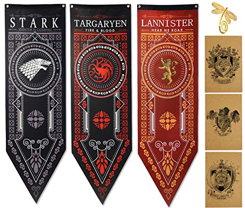 Juego de Tronos Casa Banner Paquete de 3, Bandera Casa Stark, Bandera Targaryen, Bandera Lannister