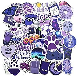 Hrayipt Purple Vsco Stickers for Water Bottle, Big 50-Pack, Waterproof Trendy Aesthetic Vinyl Outdoor Black Stickers Pack for Teens, Perfect for Laptop, Hydro Flask, Phone, Luggage, Car