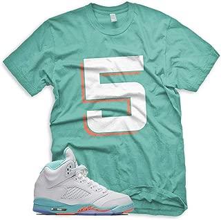 New_5_ T Shirt for Jordan 5 Light Aqua White Crimson Pulse