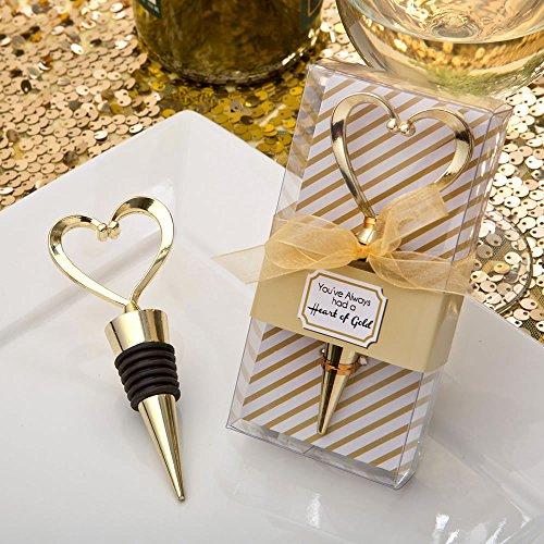 Fashioncraft Gold Heart Design Metal Wine Bottle Stopper (48)