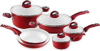 Bialetti Aeternum 10 Piece Nonstick Cookware Set, Ceramic Interior, Red
