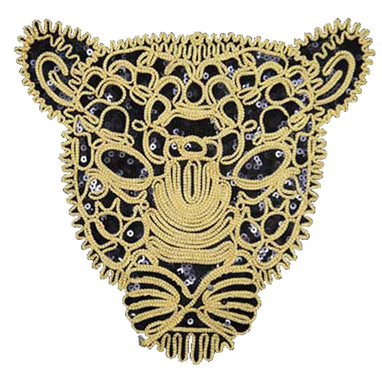 Artem Leopard Head Patch 1Pcs Black Sequins Sew on Patch Rope Embroidered Sequins Pattern Cloth Patch Applique Stickers