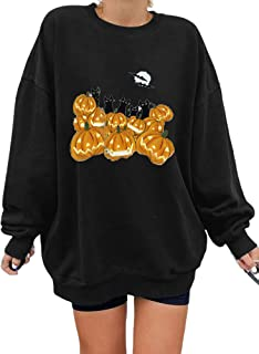 Chollius Women Oversized Long-Sleeved Shirt Round Neck Halloween Hoodie with Pumpkin Print Loose Autumn Winter Sweatshirt