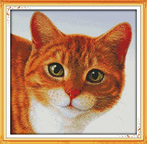 LovetheFamily クロスステッチキット DIY 手作り刺繍キット 正確な図柄印刷クロスステッチ 家庭刺繍装飾品 11CT ( インチ当たり11個の小さな格子)中程度の格子 刺しゅうキット フレームがない - 47×46 cm かわいい猫