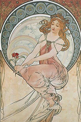 Artland Alte Meister Kunst Wandtattoo Jugendstil Alfons Mucha Wandbilder Klebefolie Vier Künste: Die Malerei 90 x 60 cm Kunstdruck Deko Art R0JC