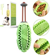 ChokGift Dog Teeth Cleaning Chew Toys Ball Toothbrush with Rope Nontoxic Bite Resistant Food Dispensing IQ Treat Toy Interactive Pet Chewy Toys for Small and Medium Puppy, Dental Care, Rubber, Green