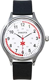 Dakota 53753 Men's Stainless Steel Large Face Nurse Water Resistant Easy to Clean Watch with Black Silicone Band - Nurse, Paramedic, Doctor, Medical Field (40mm Diameter)
