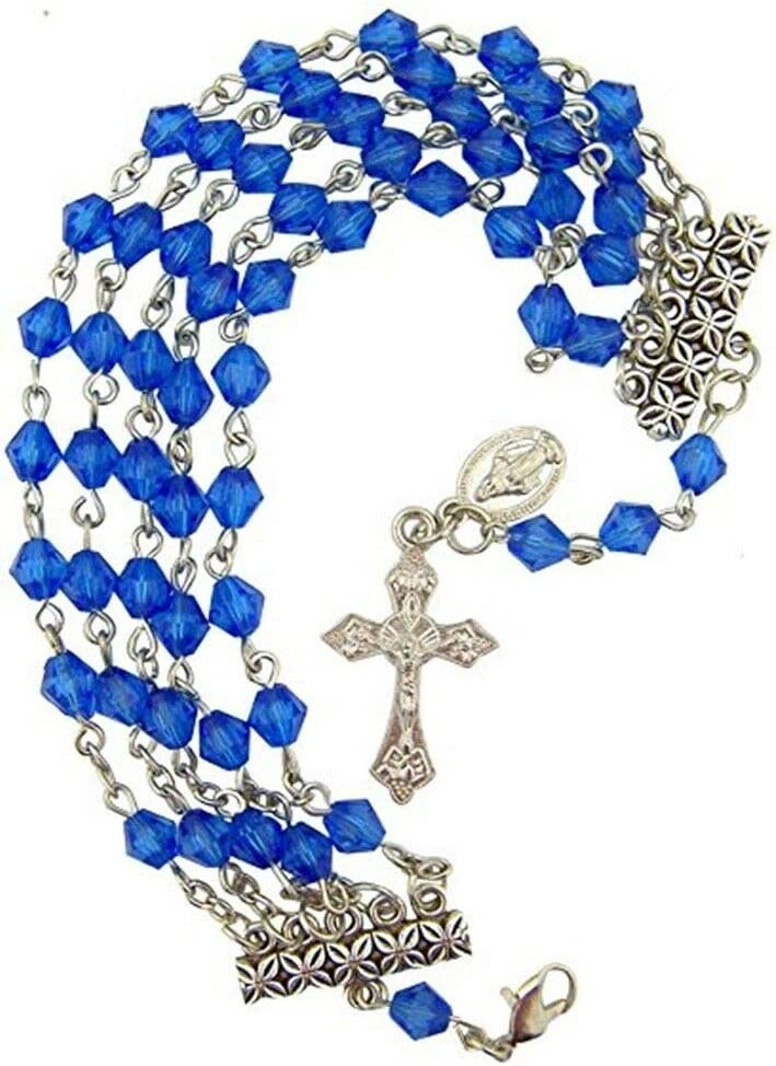 RIF Store First Communion Five String Blue Acrylic Bead Miraculous Rosary Bracelet #A-1-692