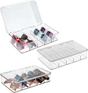 mDesign Plastic Rectangular Stackable Eye Glass Storage Organizer Holder Box for Sunglasses, Reading Glasses, Fashion Eye Wear, Accessories - 5 Sections, Hinged Lid - 3 Pack - Clear