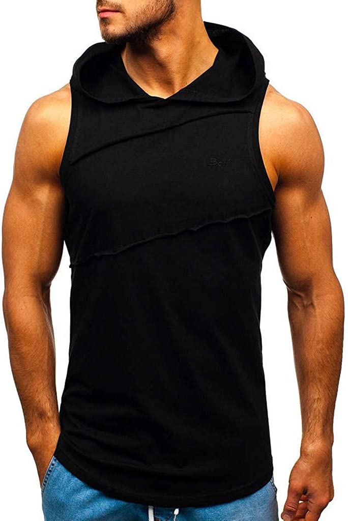 Mens Hooded Tank Tops Sleeveless Striped Splicing Sport Vest Gym Workout Hoodies Bodybuilding Muscle T-Shirts