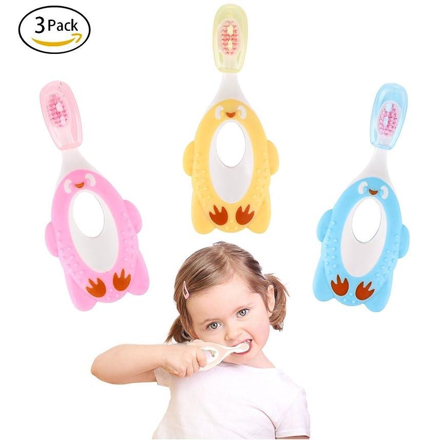 厳しいダウンハント(Pink,yellow,blue) - Fancy 3 Pack Step 1 Toothbrush,Soft Bristles,Safety Training Toothbrush for 1- 6 Years Old