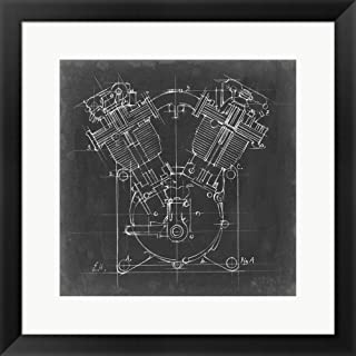 Motorcycle Engine Blueprint II by Ethan Harper Framed Art Print Wall Picture, Black Frame, 21 x 21 inches