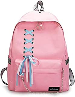 SHXKUAN Teen Girl School Backpack 12-16 inch Laptop Bag Canvas Shoulder Handbag for Travel Daypack Camping (Pink)