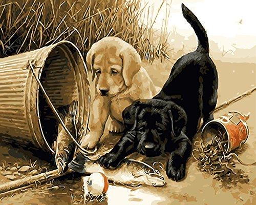 Fuumuui DIY Vorgedruckt Leinwand-Ölgemälde Geschenk für Erwachsene Kinder Malen Nach Zahlen Kits Mit Holzrahmen Home Haus Dekor -Angeln Hunde 40*50 cm
