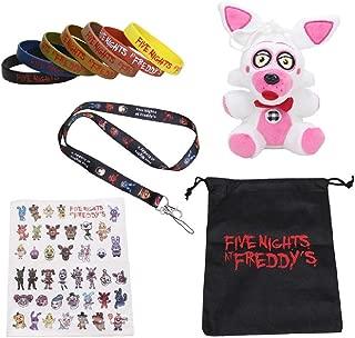 Set Five Nights at Freddy's Sister Location Sticker Lanyard FNAF Plush Baby Ballora Ennard Funtime Freddy Foxy Plush Doll Toys (Funtime Foxy)