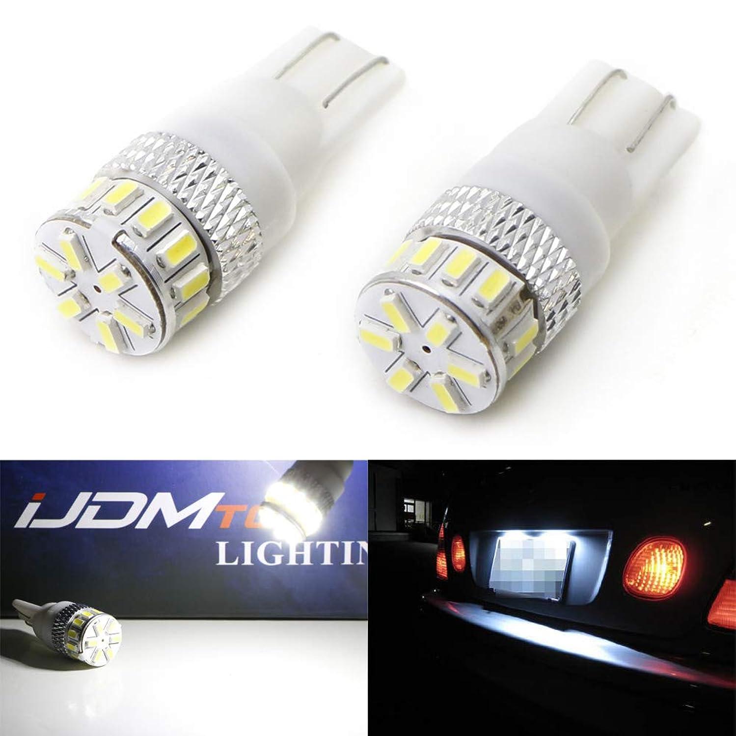 iJDMTOY 12-SMD 168 194 2825 T10 LED License Plate Light Bulbs, Xenon White