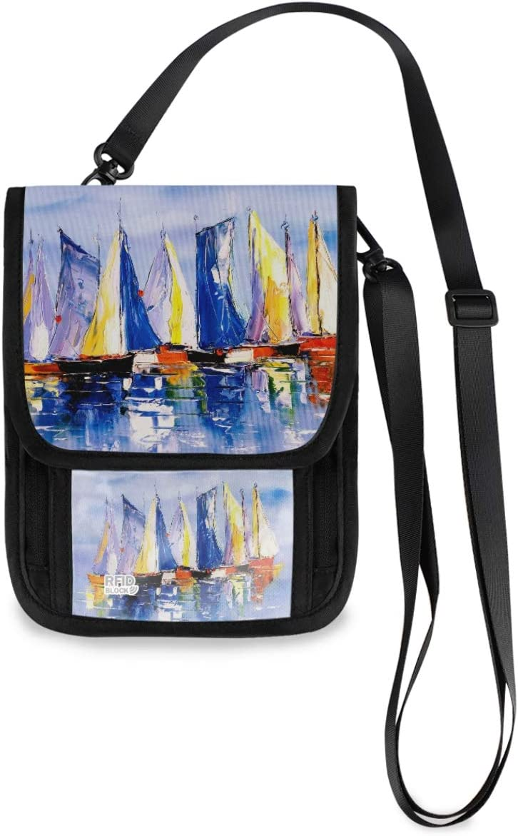 Travel Wallet Neck Pouch - Oil Fresno Mall Special price Holder Painting Passport Boat wit