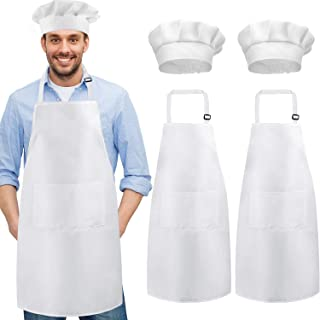 White Apron Hat Set 3 Pieces Unisex Adjustable Chef Apron with Pocket and 3 Pieces Kitchen Chef Hat for Home Restaurant Christmas Accessories