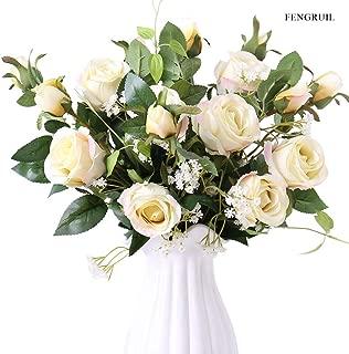 FENGRUIL Long Stem Silk Rose Flowers Arrangements Bouquet for Desktop Floor Centerpiece Bridal Wedding Decoration (Champagne)
