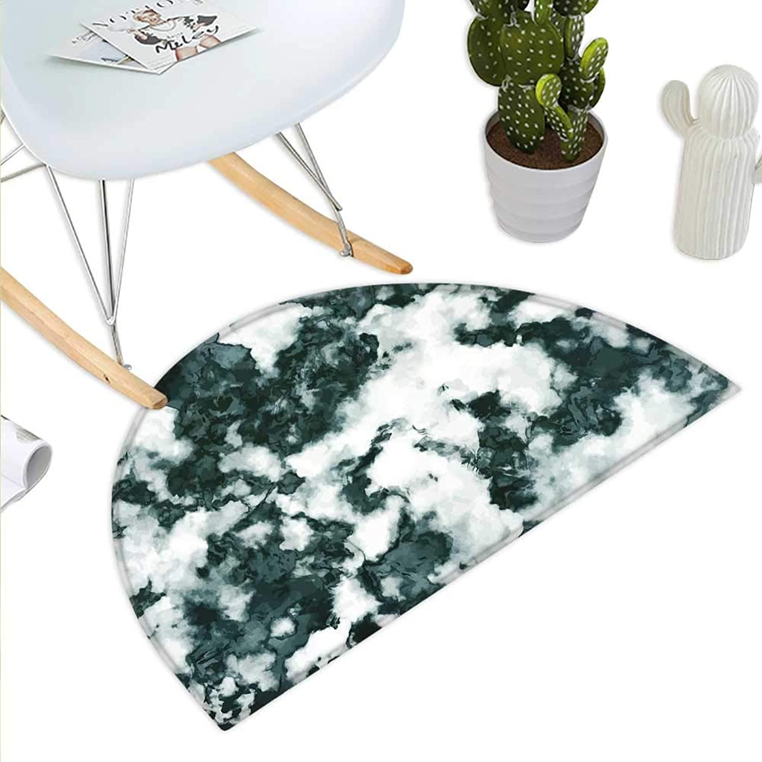 Marble Semicircle Doormat Abstract Stone Facet Artistic bluerry Layered Shades Textured Image Halfmoon doormats H 39.3  xD 59  Forest Green Pearl White