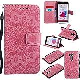 Guran® Custodia in Pelle per LG D855 G3 Smartphone Avere Carta Slot Supporto Protettiva Flip Case Cover-Rosa