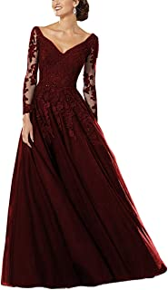 V Neck Beaded Lace Mother of The Bride Dress Long Sleeves Evening Prom Gowns