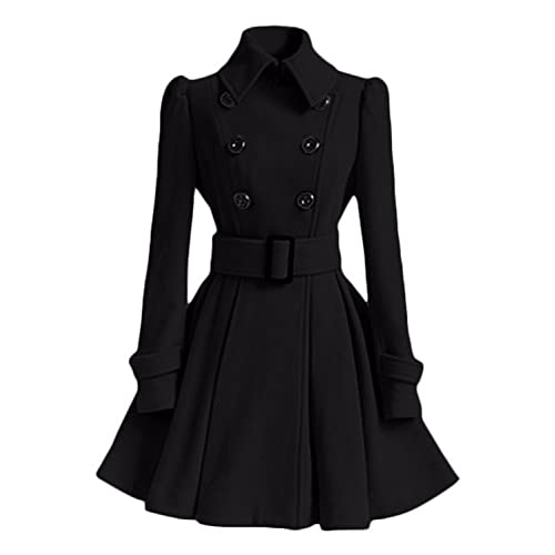 17f0dca957c AUSZOSLT Women Swing Double Breasted Pea Coat with Belt Slim Fit Mid-Long  Lapel Dress